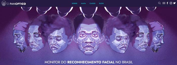 Site do projeto O Panóptico: Monitor do reconhecimento facial no Brasil
